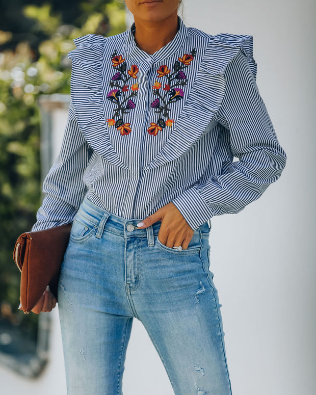 Elula Cotton Embroidered Striped Button Down Top