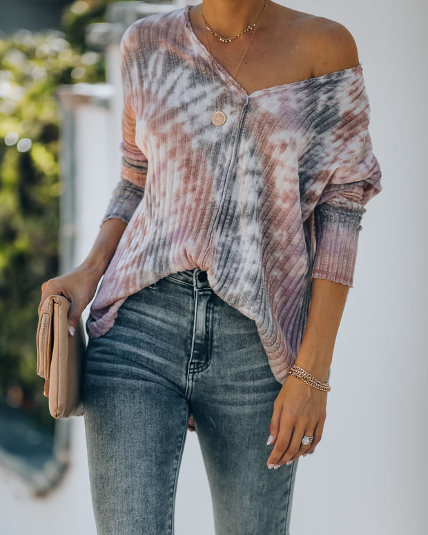 Good Life Cotton Blend Ribbed Tie Dye Top - FINAL SALE