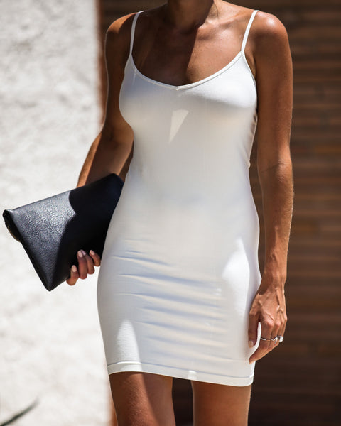 Seamless Mini Slip Dress - Ivory - FREE PEOPLE