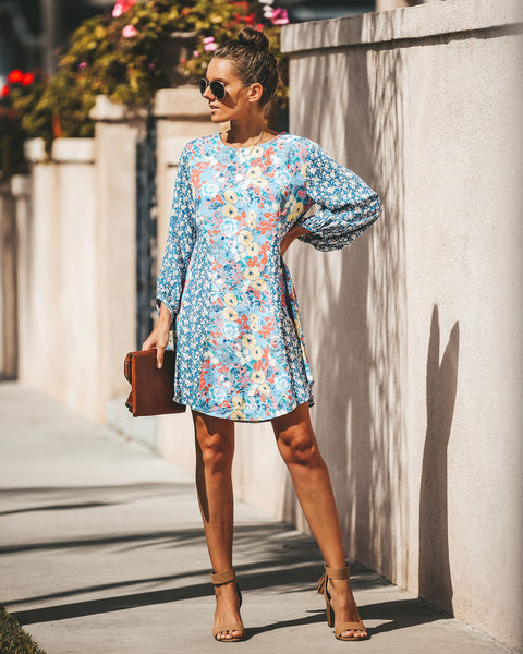 Floral Skies Mixed Print Balloon Sleeve Dress - FINAL SALE