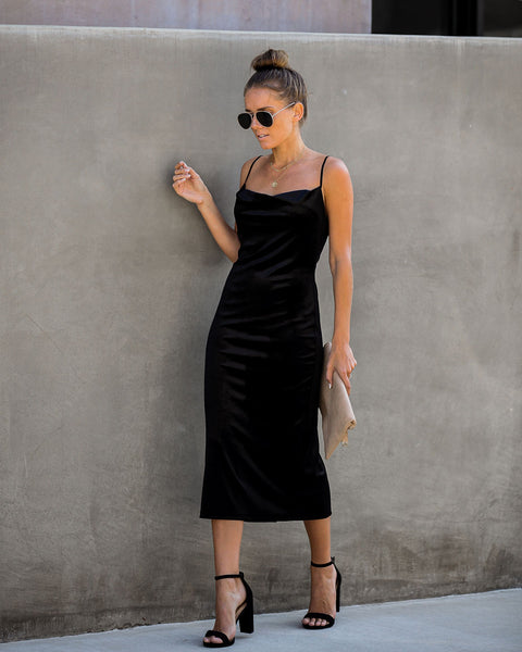 Worth The Wait Velvet Midi Slip Dress - Black - FINAL SALE
