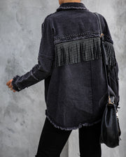 Greatest Hits Studded Fringe Denim Top