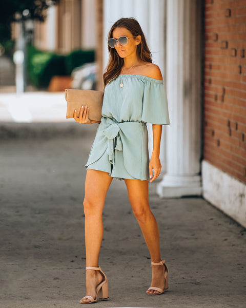 Sugar Pine Off The Shoulder Tie Front Romper