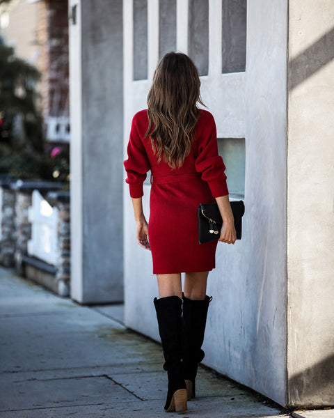 Blow A Kiss Drape Knit Sweater Dress - Burgundy
