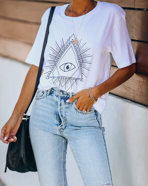 Charm Cotton Evil Eye Tee - White