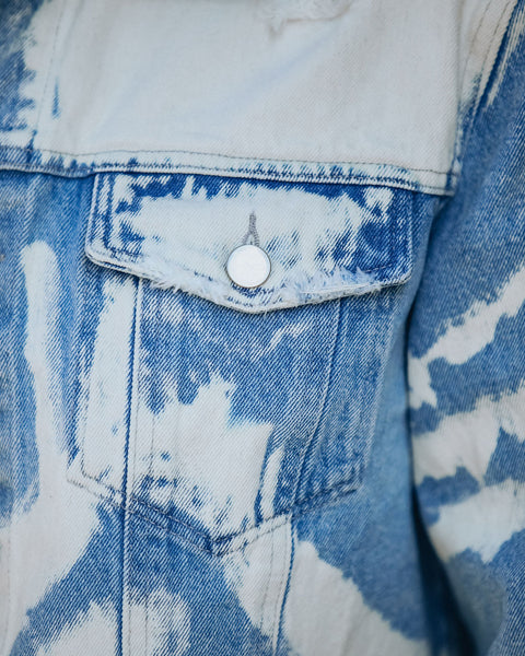 Outcast Cropped Bleached Denim Jacket