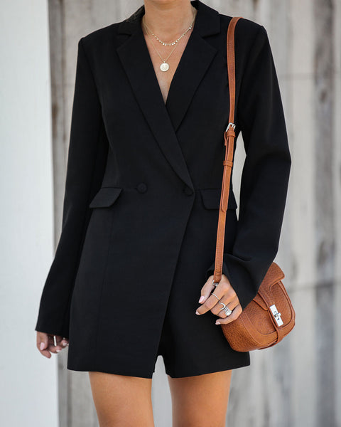 Suits You Pocketed Romper - Black