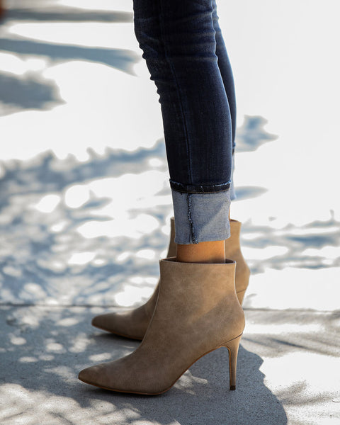 Capitol Hill Faux Leather Heeled Bootie - Taupe - FINAL SALE