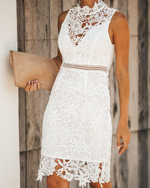 Lover's Game Crochet Lace Dress - White