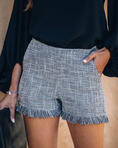 Chic Like Coco Cotton Blend Pocketed Tweed Fringe Shorts