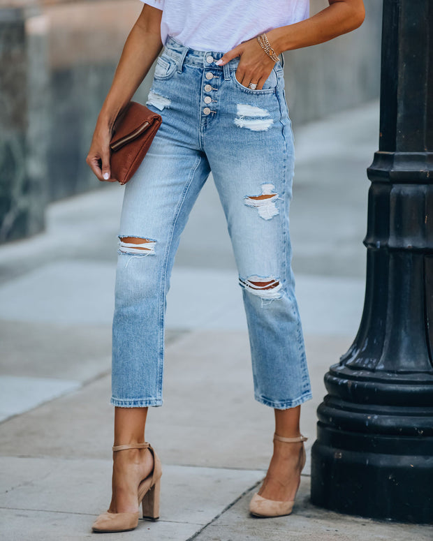 Allie High Rise Button Front Distressed Denim
