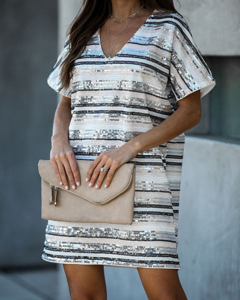 Anniversary Striped Sequin Shift Dress  - FINAL SALE
