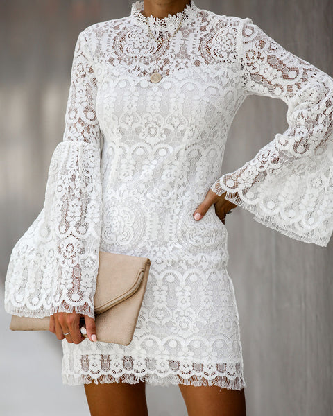 The Reception Lace Bell Sleeve Dress - FINAL SALE