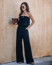 Supreme Strapless Pocketed Jumpsuit - Black