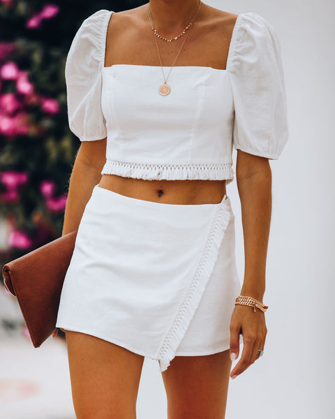 Key West Cotton Puff Sleeve Tassel Crop Top - Off White