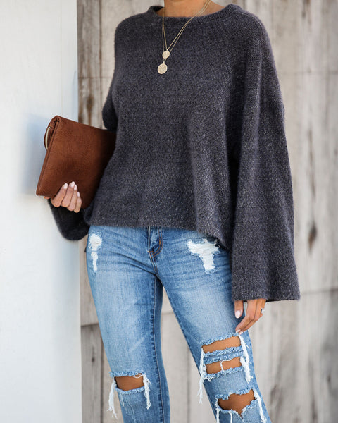 South For The Winter Soft Knit Top - Charcoal