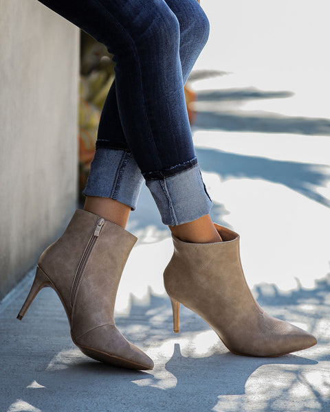 Capitol Hill Faux Leather Heeled Bootie - Taupe