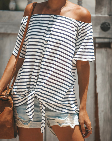 Ahoy Off The Shoulder Cotton Tie Top