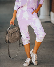 Shoot For The Sky Pocketed Tie Dye Joggers - Lavender - FINAL SALE view 7