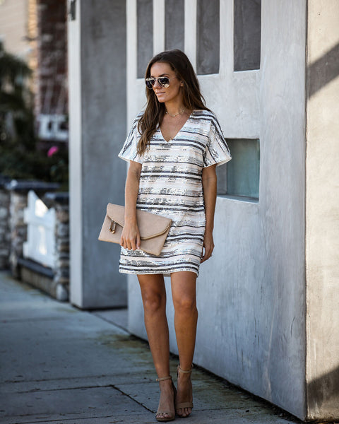 Anniversary Striped Sequin Shift Dress