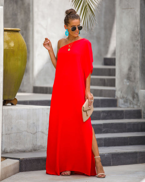 PREORDER - Blown Away One Shoulder Statement Maxi Dress - Tomato Red