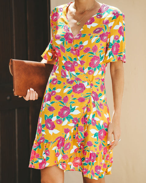 Time To Get Away Floral Wrap Dress - FINAL SALE
