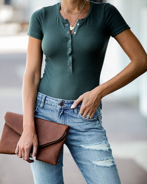 Janie Ribbed Henley Bodysuit - Hunter Green - FINAL SALE