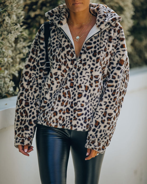 Life Is Purr-Fect Half Zip Faux Fur Pullover
