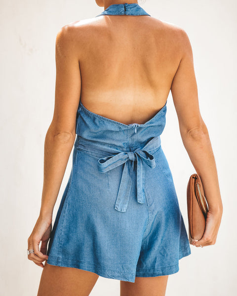Cassidy Chambray Halter Romper - FINAL SALE