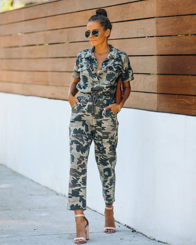 Brig Cotton Pocketed Camo Jumpsuit