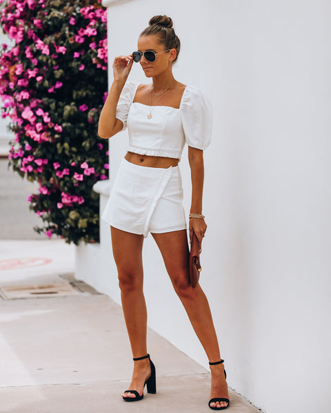 Key West Cotton Tassel Skort - Off White