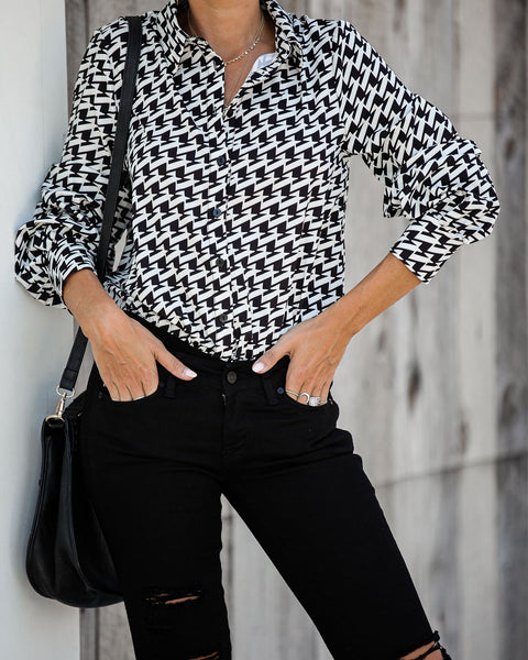 Zurich Button Down Houndstooth Bodysuit - FINAL SALE