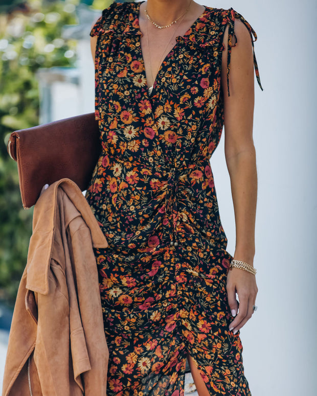 Born To Run Floral Ruched Midi Dress