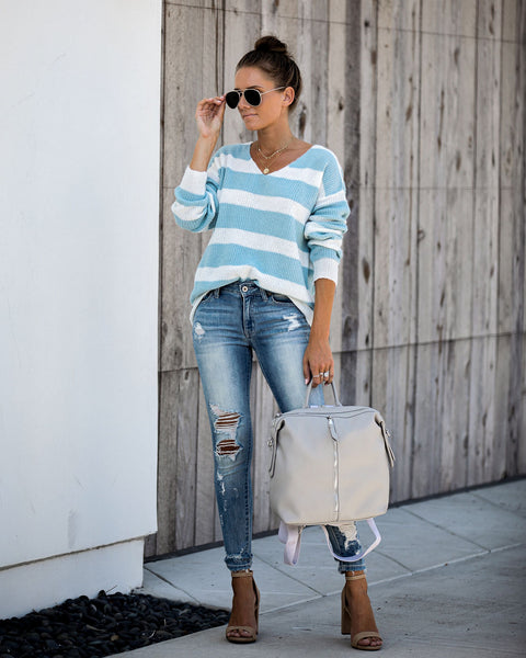 Presley Striped Knit Sweater - Light Blue - FINAL SALE