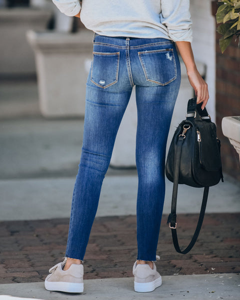 Carlsbad Mid Rise Frayed Ankle Skinny  - FINAL SALE