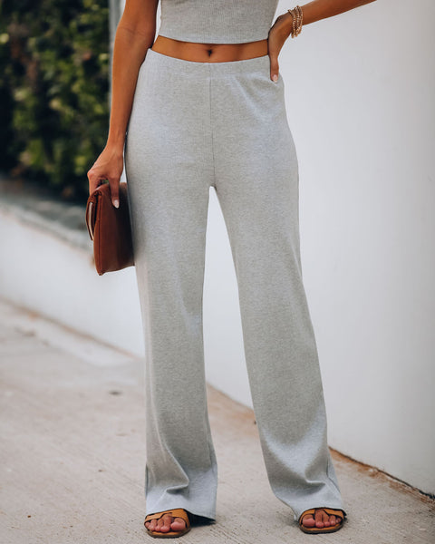 Tamara Ribbed Knit Pants - Grey