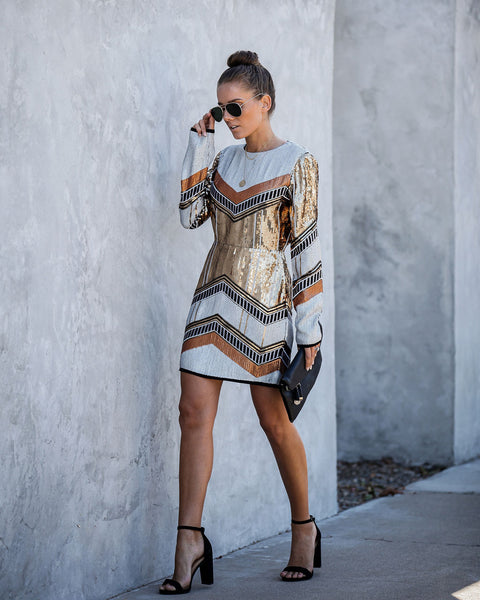 Cleopatra Backless Long Sleeve Sequin Dress