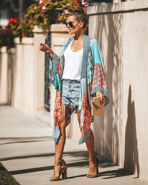 Live Peacefully Patchwork Kimono