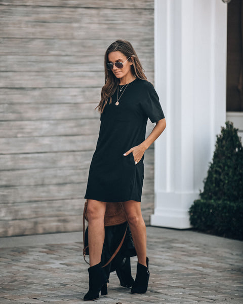 Let's Run Away Cotton Pocketed T-Shirt Dress