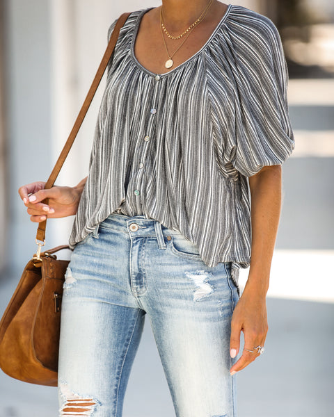Vinyl Striped Puff Sleeve Top - FINAL SALE