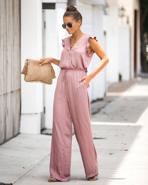 Cool Breeze Pocketed Jumpsuit - Mauve - FINAL SALE