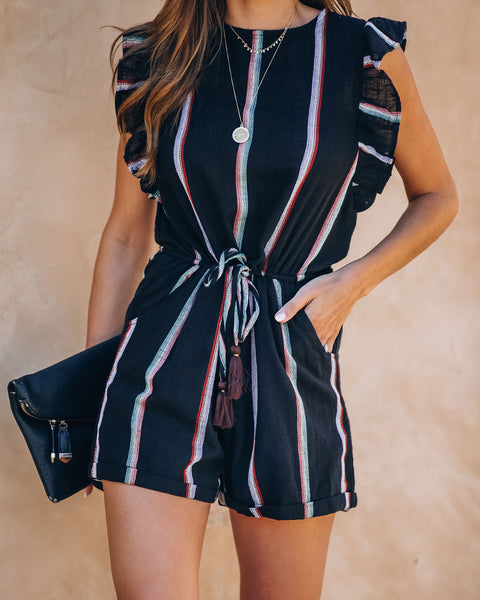 Mexico City Striped Cotton Pocketed Ruffle Romper