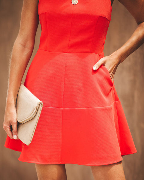 Pop Of Color Pocketed Dress - Poppy - FINAL SALE