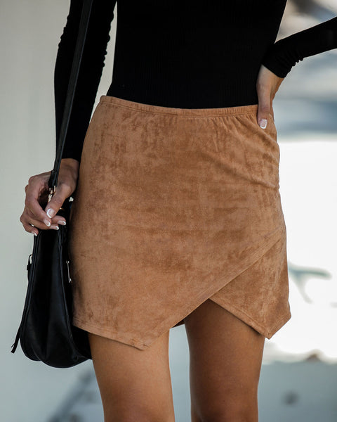 Fall Festival Faux Suede Wrap Skirt - Camel