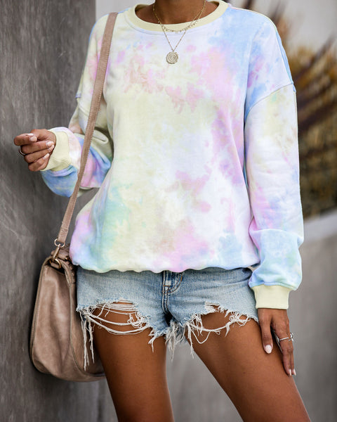 Flashback Tie Dye Cotton Blend Pullover