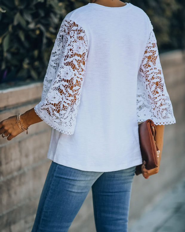 Let It Go Crochet Bell Sleeve Knit Top - Off White