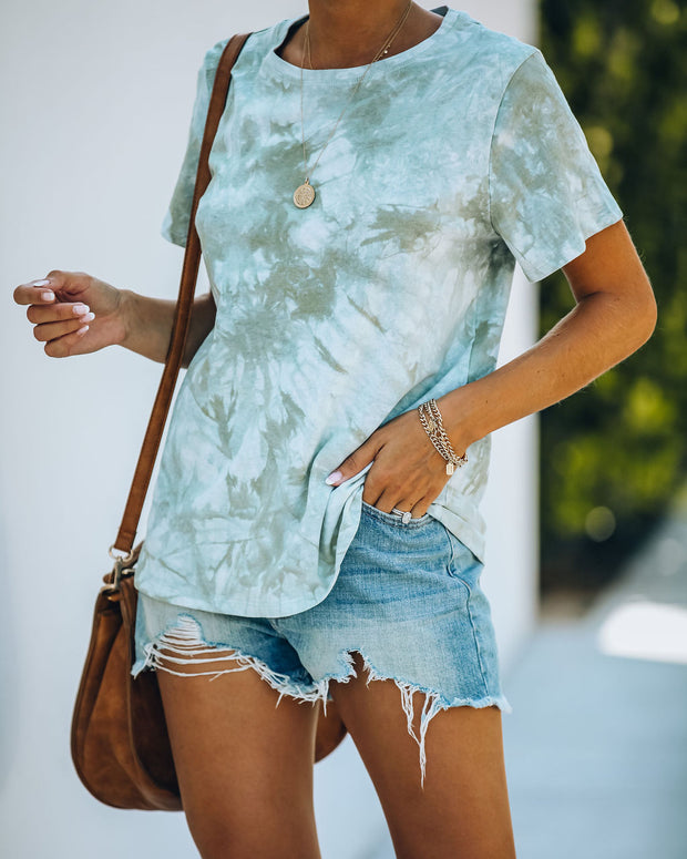 Spin The Mood Cotton Tie Dye Tee - Sage