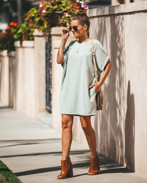 Which Way To The Beach Pocketed Dress - Sage