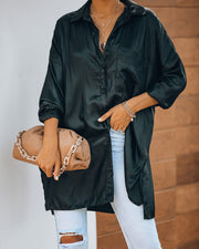 Contemporary High Sheen Button Down Tunic - Black