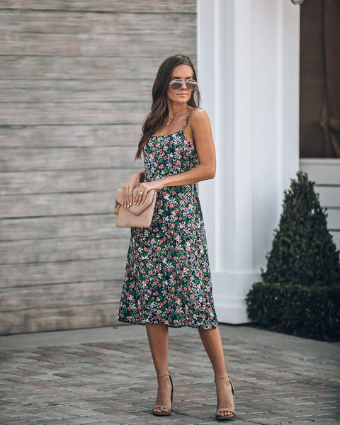 My Kind Of Night Floral Tie Back Midi Dress - FINAL SALE
